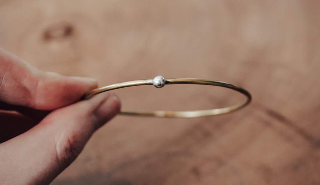 simple brass and silver bangle