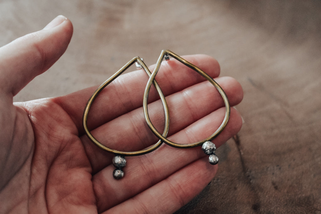 Large brass teardrop earrings