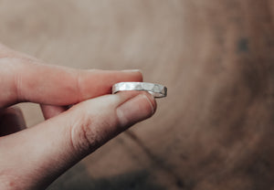 hammered Eco silver stacking ring