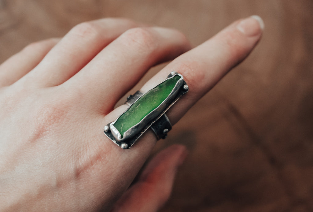 statement green sea glass ring
