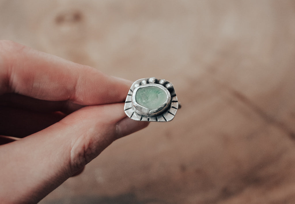 seafoam sea glass ring with silver balls and stamped lines