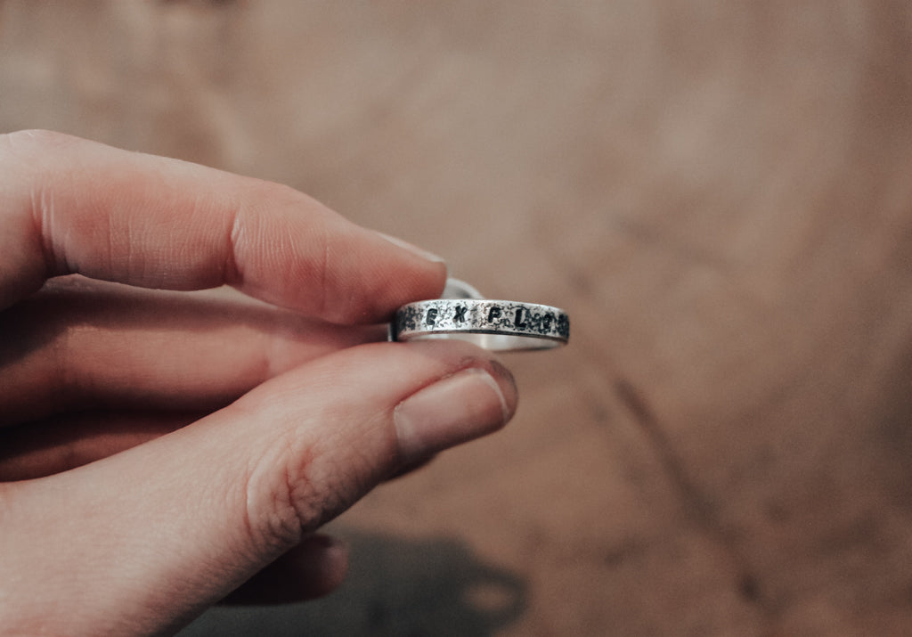 hand stamped ring band