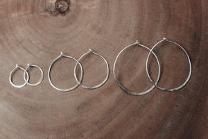 Recycled silver hoops in three different sizes