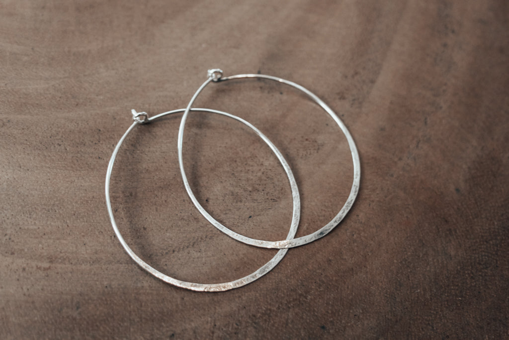 Eco silver large hoops