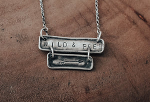 silver wild and free necklace