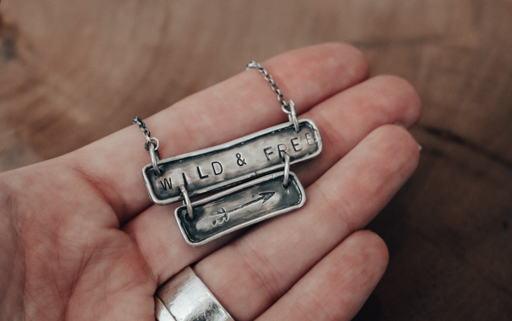 hand stamped wild and free jewellery