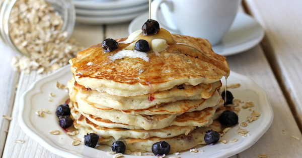 blueberry-oatmeal pancakes