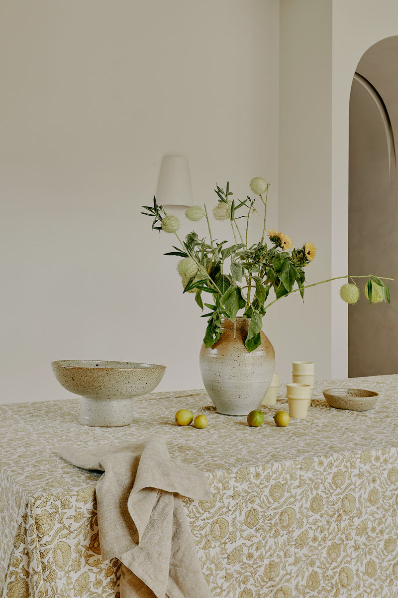 Hibiscus Cotton Tablecloth in Gold