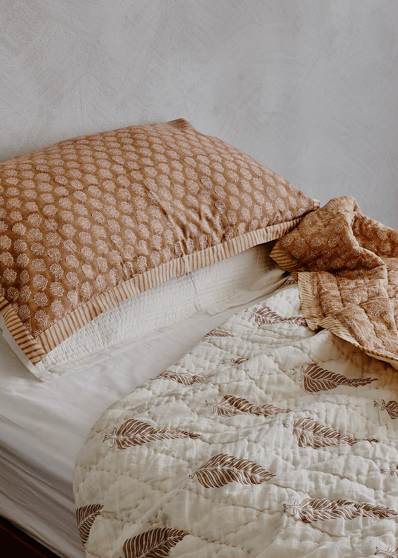 King Single Bedspread in Tan