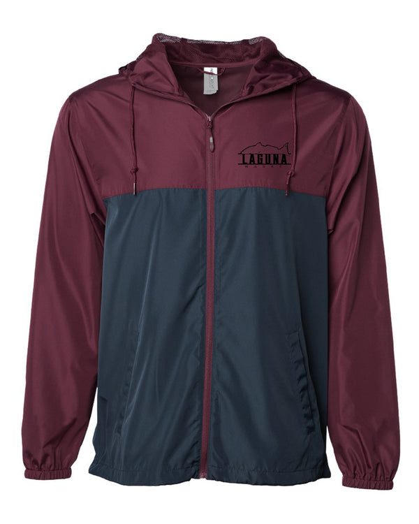 Light Hooded Windbreaker - Maroon/Navy