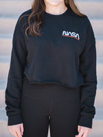 Black NASA embroidered crop sweatshirt