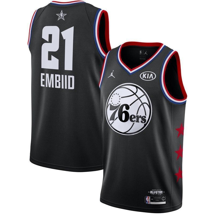 new product 5ae91 f20d6 Philadelphia 76ers #21 Joel Embiid 2019 ALL STAR Swingman Jersey
