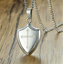 Load image into Gallery viewer, Mens Shield Cross Pendant Necklace in Stainless Steel Be Strong and Courageous Inscription to Back