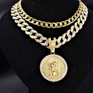 Mens Full Iced Miami Cuban Hip Hop Rapper Gold Necklace Pendant Set