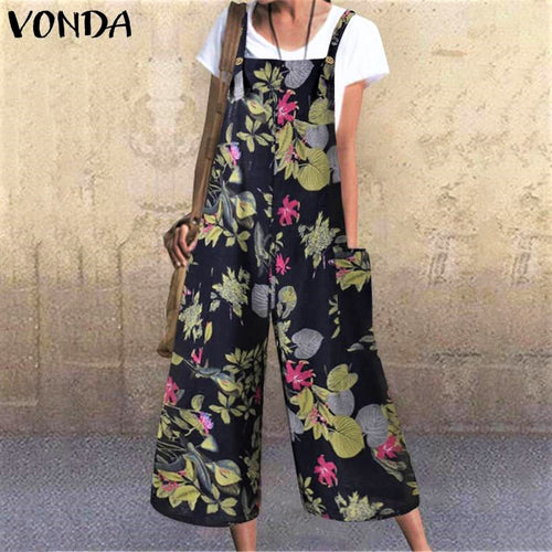 Womens Streetwear Loose Fit Overalls Dungarees Styled in Vintage Print in Sizes 8 - 24Uk