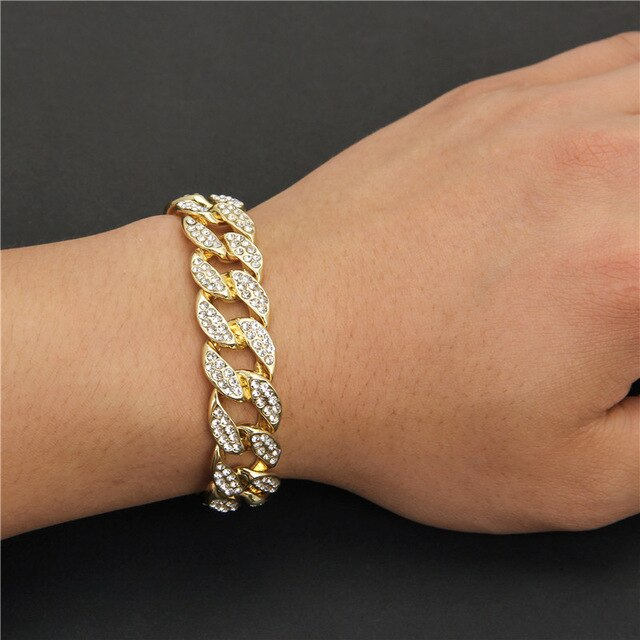 Chunky Iced Out Cuban bracelet with Paved CZ chain for Lovers of Hip Hop Jewellery