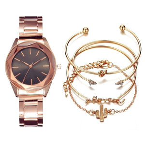 5pc Luxury Wrist watch & bangles Set in 5 Different Colours