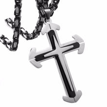 Load image into Gallery viewer, Silver with Black Cross Pendant in a Choice of Size of Cross and Length of Chain