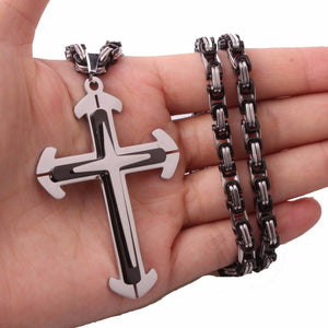 Silver with Black Cross Pendant in a Choice of Size of Cross and Length of Chain