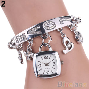 Fashion Love Bracelet Wrist Watch in Silver or Gold