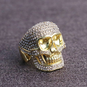 Mens Hand Crafted Iced Out Hip Hop Skull Ring All Sizes