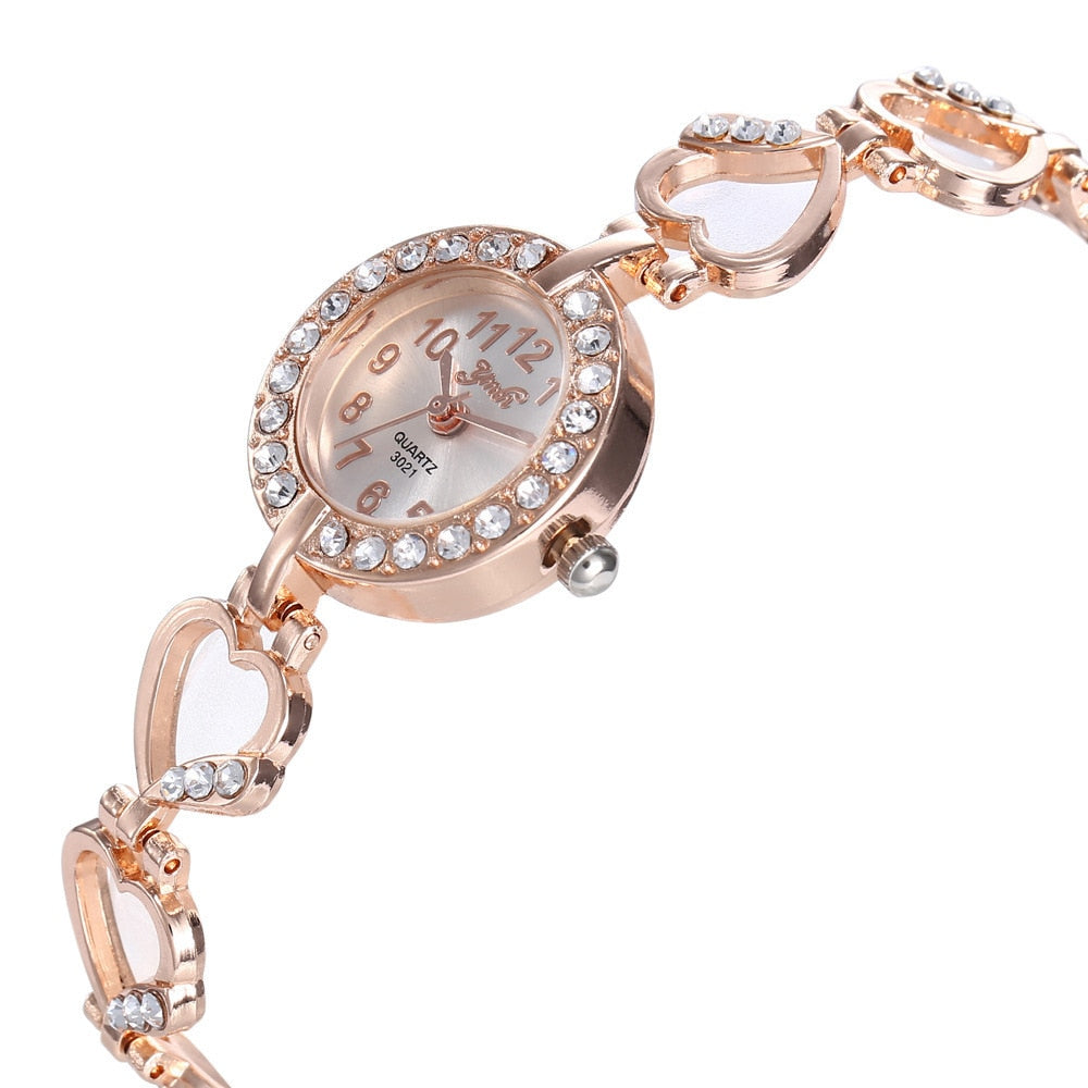 Luxury Rhinestone Bracelet Watch in Rose Gold or Silver