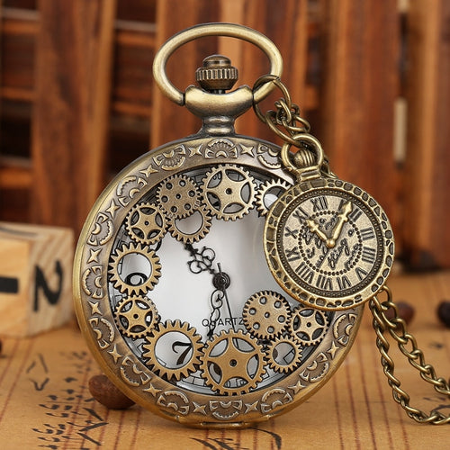 Vintage Antique Style Hollow Gear Pocket Fob Watch Pendant with Chain in 5 Styles