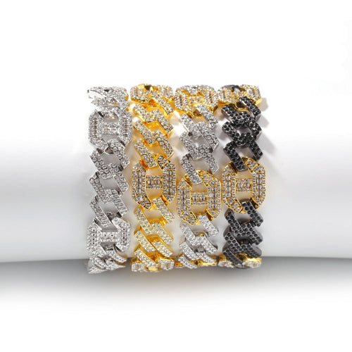 Mens Quality Iced Out Rhinestone Bracelet in 2 Lengths and 3 Colours