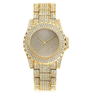 Mens Iced Out Bling Luxury Quartz Hip Hop Watch Silver, Gold & Rose Gold