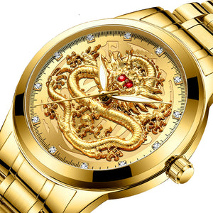 Mens Luxury Rhinestone Dragon Watch in 9 Styles Was £69.96 Now £35.68