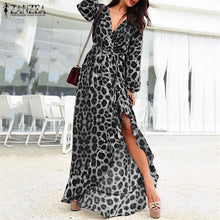 Load image into Gallery viewer, Leopard Print Wrap Style Long Dress Black or Brown Sizes 6-24 UK