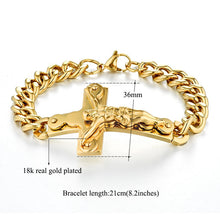 Load image into Gallery viewer, Unisex Hip Hop Style Gold Large Jesus Cross Wrist Bracelet
