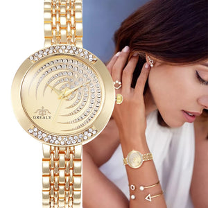 Luxury Womens Bracelet Watch with Crystal Rhinestones in 3 Colours