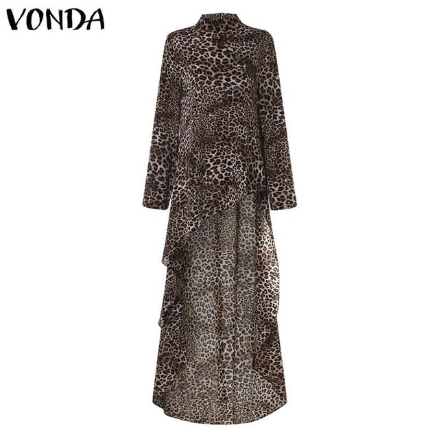 Womens Long Shirt Tunic in Leopard Print in Sizes 8-22 UK