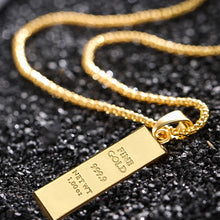 Load image into Gallery viewer, Unisex Ingot Bar Pendant on Chain Quality Imitation Gold for lovers of Hip Hop Rapper Jewellery