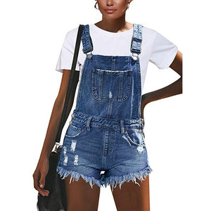 Distressed, Ripped & Freyed Denim Overalls Style Bib & Brace Shorts Dungarees