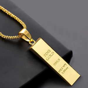Unisex Ingot Bar Pendant on Chain Quality Imitation Gold for lovers of Hip Hop Rapper Jewellery