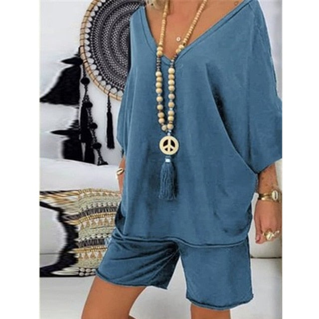 Women's Casual 2 PC Loose Shirt and Shorts Set 4 Colours Sizes 8-20 UK