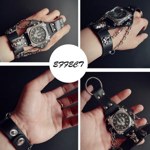 Mens Individual Bracelet Wrist Watch with Chains and Finger Loop in Steam Punk Style