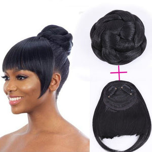 Top Bun with Bangs Hair Piece Wig Set