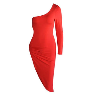 Statement One Shoulder Ring Side High Split Dress in 4 Colours Sizes 8-14
