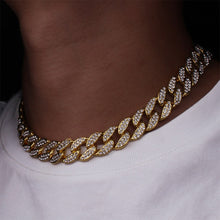 Load image into Gallery viewer, Mens Full Iced Miami Cuban Hip Hop Rapper Gold Necklace Pendant Set