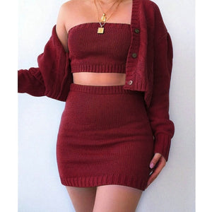 3Pcs Crop Top, Skirt and Long Sleeve Cardigan Set in 3 Colours Sizes 8 - 16 UK