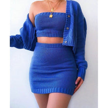 Load image into Gallery viewer, 3Pcs Crop Top, Skirt and Long Sleeve Cardigan Set in 3 Colours Sizes 8 - 16 UK