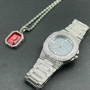 Luxury Mens Iced Out Hip Hop Watch & Pendant Combo Set in Gold or Silver in Many Styles