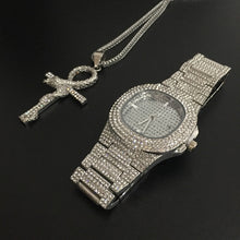 Load image into Gallery viewer, Luxury Mens Iced Out Hip Hop Watch & Pendant Combo Set in Gold or Silver in Many Styles