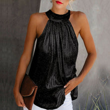 Load image into Gallery viewer, Womens High Neck Sleeveless Shimmer Party Top in Gold, Black or Silver Sizes 8-16 Uk