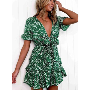 Pretty Polka Dot Low V-Neck Boho Ruffle Short Dress Sizes 6-12 Uk