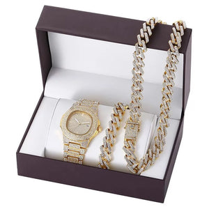 Luxury Rhinestone Iced Out Watch Set Cuban Neck Chain & Bracelet 5 Styles