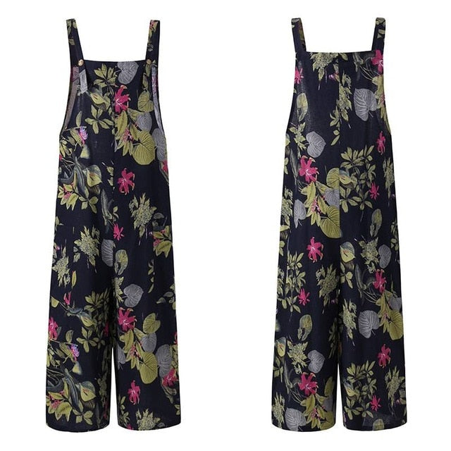 Womens Streetwear Loose Fit Overalls Dungarees Styled in Vintage Print in Sizes 8 - 24 UK